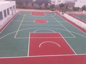 Construction of basketball - volleyball courts