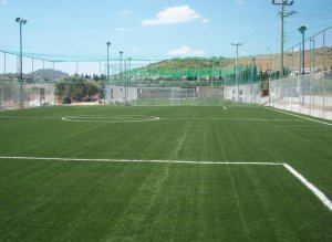 Artificial grass construction with shockpad