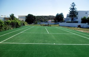 Artificial turf of tennis court
