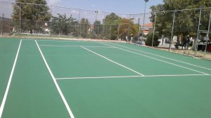 Tennis court with acrylic materials