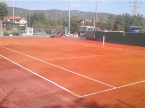 Tennis court with artificial turf 20mm, red-clay color, with ITF classification