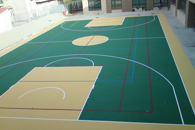 Γήπεδο μπάσκετ εξωτερικού χώρου με ακρυλικά υλικά, πάχος 2-3mm