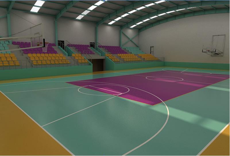 Γήπεδο μπάσκετ-βόλλεϋ εσωτερικού χώρου με αντικραδασμικό υπόστρωμα και κάλυψη με ειδικά  πολυουρεθανικά υλικά