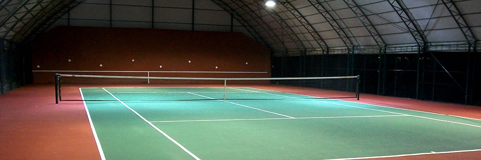 Indoor tennis court with acrylic materials