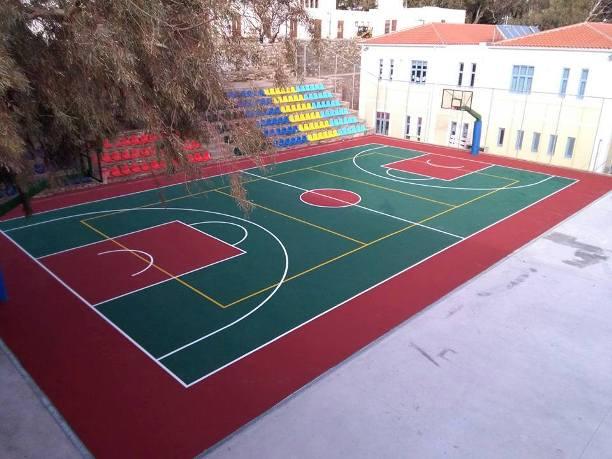Γήπεδο Μπασκετ εξωτερικού χώρου με ακρυλικά υλικά, πάχος 2-3mm